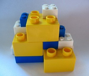 LEGO and DUPLO stacked on each other.